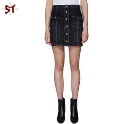 Nova moda jovem sarja de algodão preto saia curta com botões