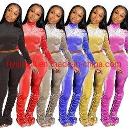 Los recién llegados Ruched con cintura alta mujer pantalones con pliegues apiladas Custom