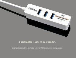Colta ad alta velocità del mozzo e scrive a divisore Coombo dell'unità 3-Port del USB il nuovo mini lettore della Multi-Scheda del mozzo SD+ TF del mozzo del USB 2.0 combinato