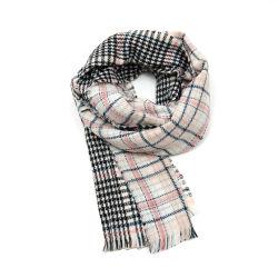 No Inverno de moda de duas faces Cachecol Rosa Verificar unissexo acrílico malha lenço Longo Xale Mulheres