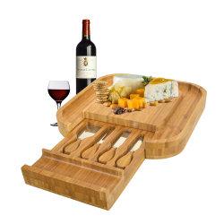 正方形のBamboo Cheese BoardおよびSlide Drawer Cheese Cutting BoardのCutleryのKnife Set