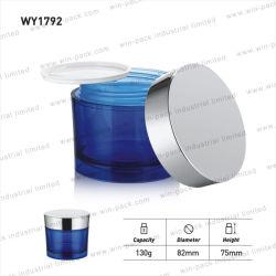 Hot vendre bleu acrylique Jar crème cosmétique de l'emballage avec couvercle d'argent brillant 130g