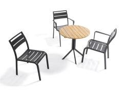 실외 정원 가구 심플한 스타일 3세트, 우드의 의자 커피 테이블을 설정합니다