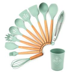 Conjunto de 11 piezas de menaje de cocina antiadherente de silicona, utensilios de cocina con mango de madera.