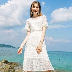 백색 레이스 작은 리프레시 해변 소녀 짧 소매 중앙 긴 복장