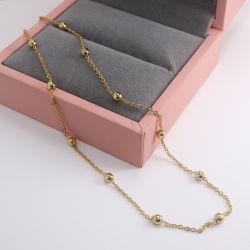 Commerce de gros 18K de la chaîne de perles plaquées or et de la chaîne à bille en laiton Necklace