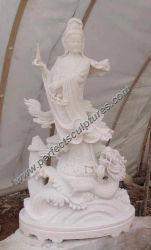 Pierre Bouddha de marbre Kwan Yin pour le Feng Shui Statue (sy-T021)