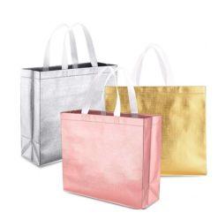 로즈 금박지 선물 쇼핑 백 손잡이를 가진 선전용 짠것이 아닌 유행 존재하는 광택 있는 재사용할 수 있는 식료품류 끈달린 가방