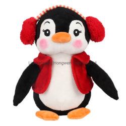 Оптовая торговля высокое качество пользовательских мягкой начинкой Рождественский парад пингвинов мягкие игрушки с одежды и гнездо для наушников