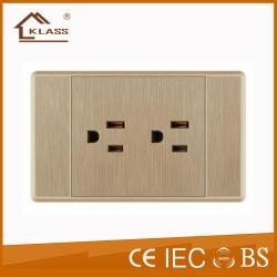 Tomada de parede padrão americano 6 Pinos Receptáculo Triplex Tomada eléctrica