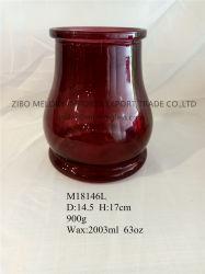 63 أونصة من النبيذ دورق زجاجي أحمر/حامل شمعة/مزهرية زجاجية مع جولة بأسفل وثقل ثقيل