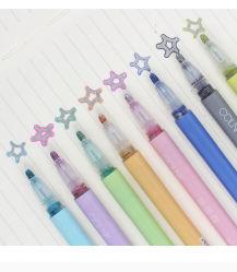 비 중독 2/4/6/8의 색깔 반짝임 개략 2중 선 마커 펜