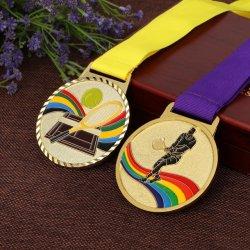 جائزة هدايا معدنية مخصصة من المصنع كرة المضرب/السباحة/الركض/الجمباز/ترياتلون/المصارعة/جائزة البطل الميداليات الذهبية الفضية البرونزية الرياضية مع الشريط