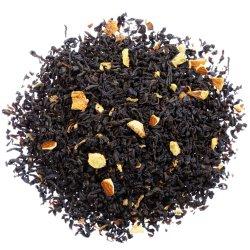La fruta de sabor del té negro con limón