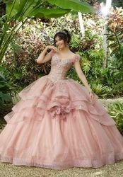 Запыленной розового цвета платья Organza Quinceanera использованием стекла уплотнитель устраивающих свадьбу Gowns шаровой опоры рычага подвески