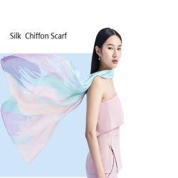 Impressão personalizada de moda Chiffon Seda Lady Xailes