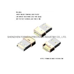 USB 수직 유형 A 스테인리스 스틸 SD 카드 케이블 커넥터