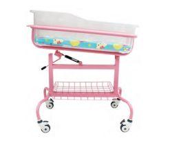 ピンクカラースチール病院新生児用ベッド(ガススプリングタイトル付き
