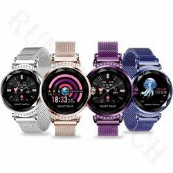 Horloge van de Riem van het roestvrij staal het Goedkope Waterdichte Slimme H2 IP68 voor Vrouwen