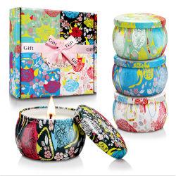 Hot bougie européen Ensembles cadeaux personnalisés Modèles rétro voyage bougie parfumée Jar d'étain métallique