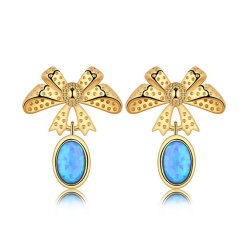 925 Sterling Silver Earrings Bow créé Opal Drop Earrings Boucles d'oreilles pendantes