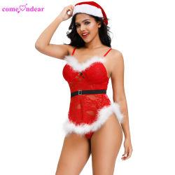サイズの女性クリスマスのセクシーなランジェリーとサンタクロースの卸し売り衣裳
