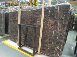 Pedra natural polidos/aperfeiçoou Net mármore marrom para andar/lajes de parede/quadros/bancadas de trabalho/escadas/soleiras/coluna/mosaico decoração de interiores