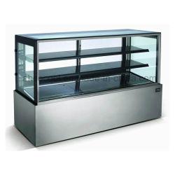 L'acciaio inossidabile ha refrigerato la vetrina del forno, frigorifero della visualizzazione della torta per i caffè