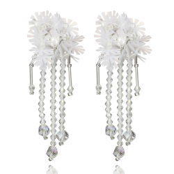 2018 Long Cristal Pendentif Fleur Tassel Boho Earrings