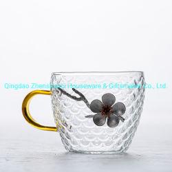 Fait en usine de Verre fait main théières avec la décoration florale