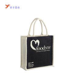 大きい綿のハンドルのジュート袋が付いているリネンHessian食料品の買い物のバーラップの戦闘状況表示板