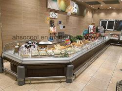 코너와 치즈 및 소시지 셀프 서비스 냉장 쇼케이스