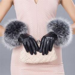 Леди мода реального мех манжеты Sheepskin одежды кожаные перчатки