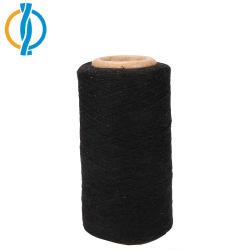 Il nero ha riciclato il filato mescolato poliestere del cotone per il lavoro a maglia del calzino