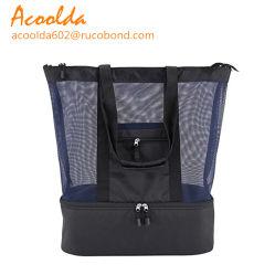 Mesh sac fourre-tout sac fourre-tout loisir de plage avec refroidisseur compartiment inférieur