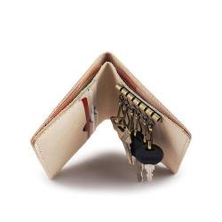 Venda quente presente de promoção à mão em pele verdadeira Porta-chaves dobre a Carteira de couro