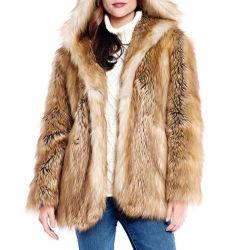 La llegada de nuevos diseños de moda mujer Fox Faux Fur chaquetas de invierno con sus propios diseños