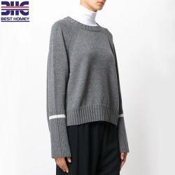 여자의 모직 캐시미어 천 줄무늬 느슨하게 숙녀를 위해 적합했던 크기 플러스 긴 소매 대원 목 뜨개질을 한 스웨터 Ribbed 스웨터