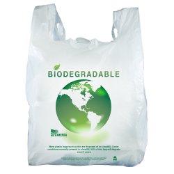 PLA 배트 옥수수 전분 HDPE LDPE PE 생분해성 퇴비 플라스틱 사용자 정의 인쇄 크기 재활용 자재 식품 등급 베스트슈퍼마켓 처리 쇼핑 티셔츠 가방