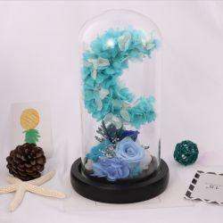 Декоративные цветы венки тип синий Реальные долго сохранять роз сохранить цветы в стеклянный купол с индикатором