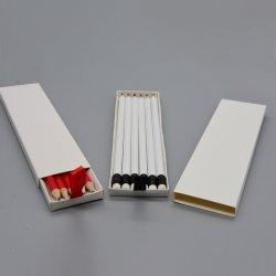 6PCS 까만 고리 백색 지우개를 가진 백색 바디 Hb 연필은 리본을%s 가진 백색 선물 상자에서 포장했다