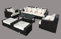 Muebles de Rattan Patio Jardín Sofá 8PCS con otomana reposapiés