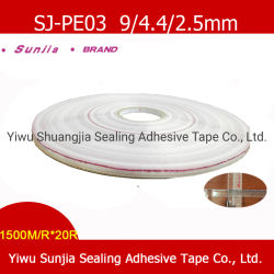 Cinta adhesiva impresa Sunjia auto, dos bandas laterales de plástico, cintas, Sellado de la bolsa de PE adhesivo para las prendas de vestir las bolsas (9/3/5mm)