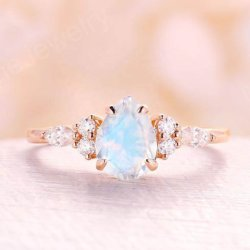 925 Sterling Silver Rose gold plating pêra cortada Moonstone Halo Suite Ring