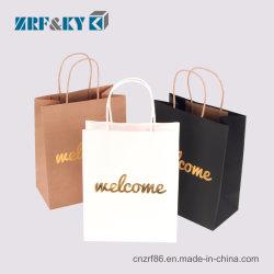 De façon personnalisée/Motif imprimé à l'emballage recyclables blanc/noir/brun Sacs en papier kraft de gros et de vente au détail/gros