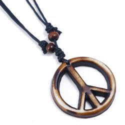 Vintage Negro Diseño personalizado de madera Cadena Colgante Collar Perlas de firmar la paz para los hombres