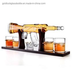 Venda a quente em forma de pistola vaso de Arte em Vidro de licor para embalagem de vinho/Vodka/Whisky//Bebidas espirituosas com Stop
