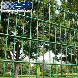 Enduit de PVC vert cour avant double panneau de clôture en treillis métallique