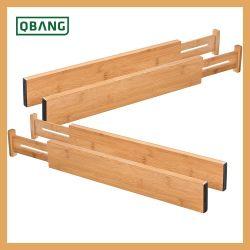 Bamboo Drawer Divider Kitchen Drawer Organizer Spring Verstelbare En Uitverbare Lade Dividers 100% Organic Bamboo