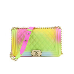 Fashion Luxe Rainbow Crossbody Chain Kleurrijke Jelly Women Shoulder Tassen